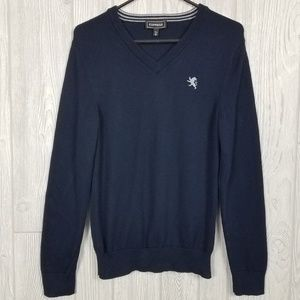 Express Mens Blue V-Neck Pullover Sweater
